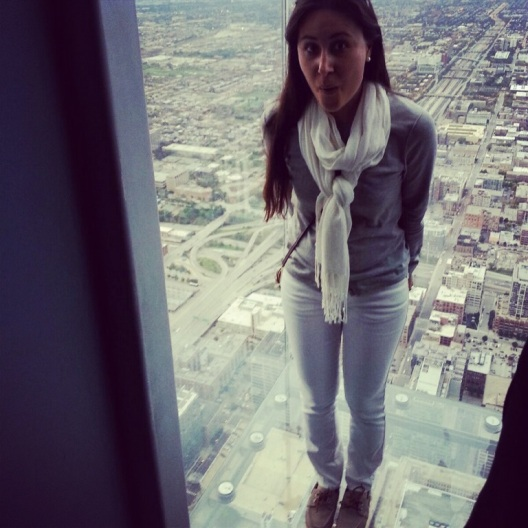 Hanging off the ledge at Sears Tower